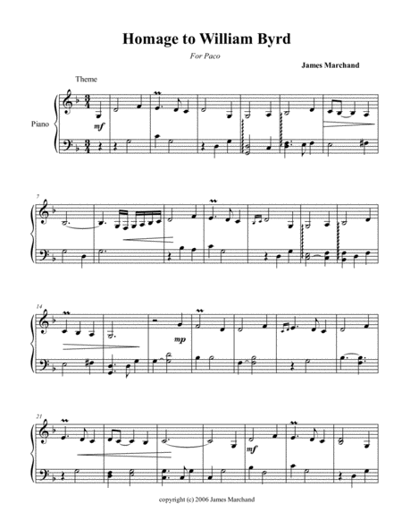 Homage to Byrd (for the left hand alone)