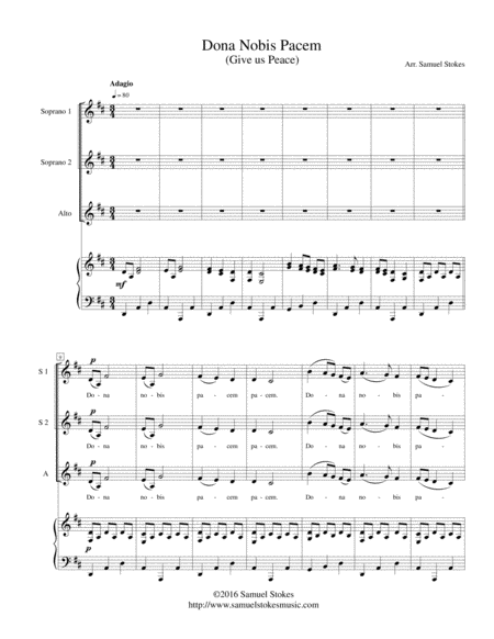 Dona Nobis Pacem (Give Us Peace) - for SSA choir with piano accompaniment