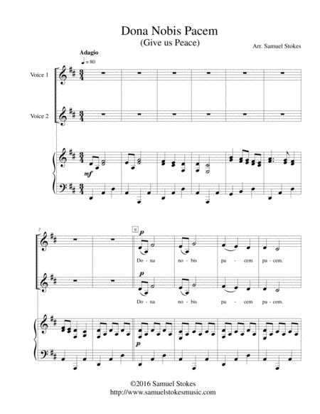 Dona Nobis Pacem (Give Us Peace) - for 2-part choir with piano accompaniment