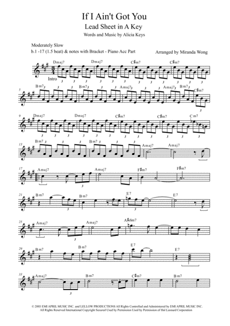 If I Ain't Got You - Violin, Flute or Oboe Solo (With Chords)