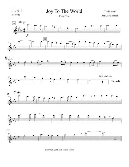 Joy to the World Flute solo,duet,trio