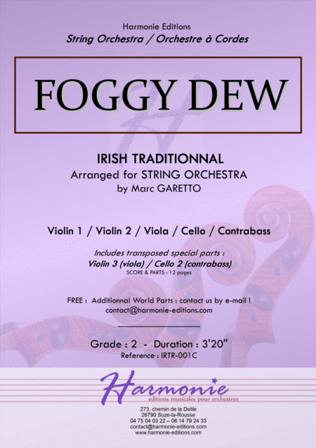 FOGGY DEW - Irish Traditionnal - 1840 - Arranged for String Orchestra by Marc GARETTO
