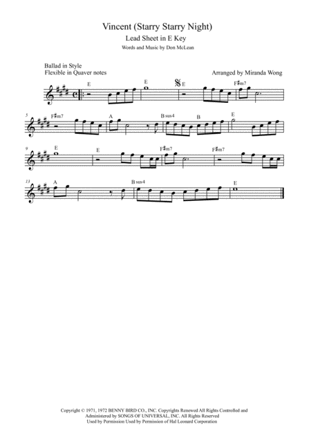 Vincent (Starry Starry Night) - Violin or Flute Solo (With Chords)