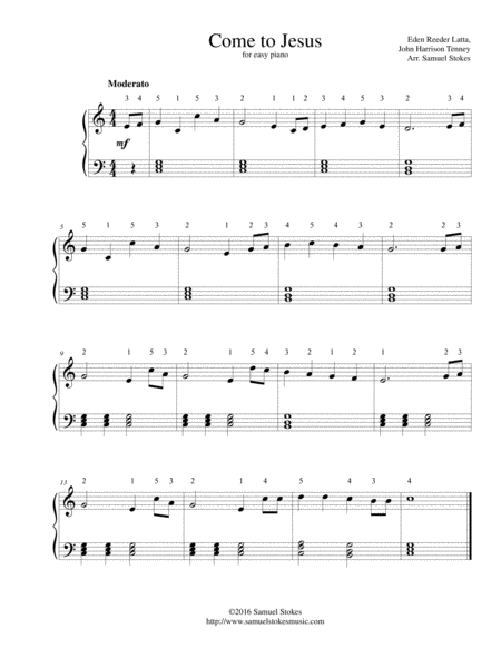 Come to Jesus - for easy piano