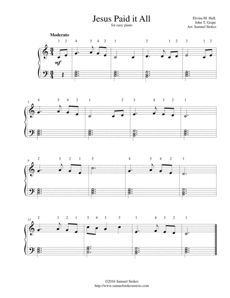 Jesus Paid It All - for easy piano