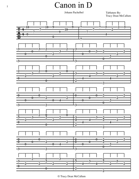Canon In D For Classical Guitar Tablature