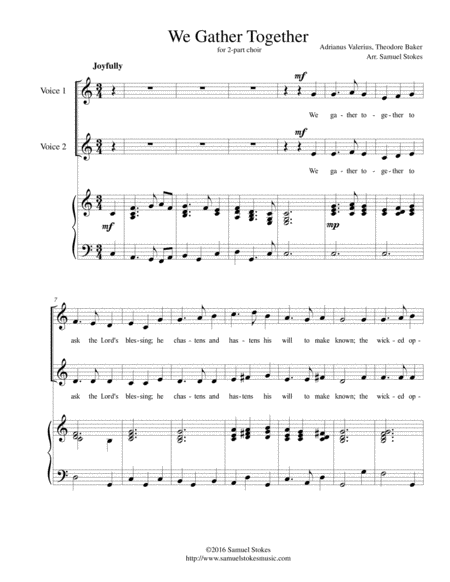 We Gather Together (The Thanksgiving Hymn) - for 2-part choir with piano accompaniment