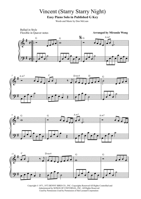 Vincent (Starry Starry Night) - Easy Piano Solo in Published G Key (With Chords)