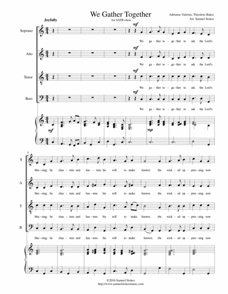 We Gather Together (The Thanksgiving Hymn) - for SATB with piano accompaniment