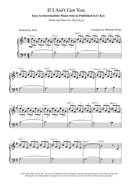 If I Ain't Got You - Easy Piano Solo in Published G Key (With Chords)