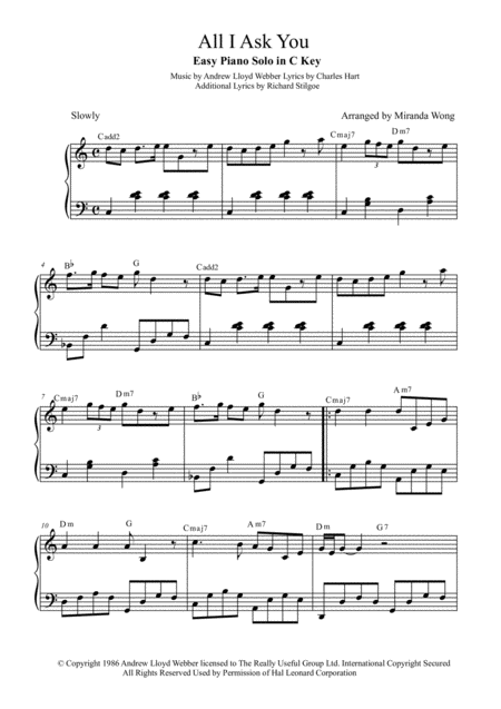 All I Ask Of You - Easy Piano Solo in C Key (With Chords)