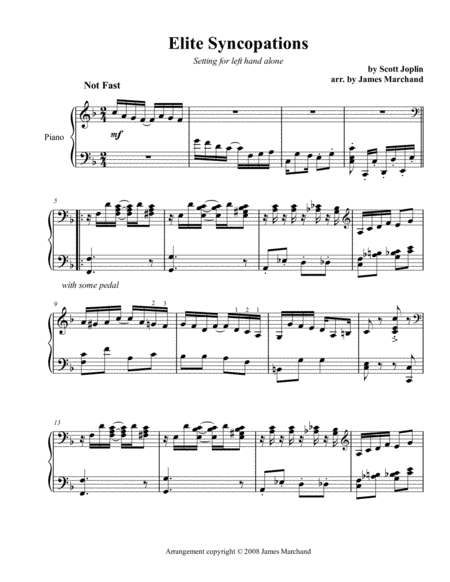 Elite Syncopations arr. for the left hand