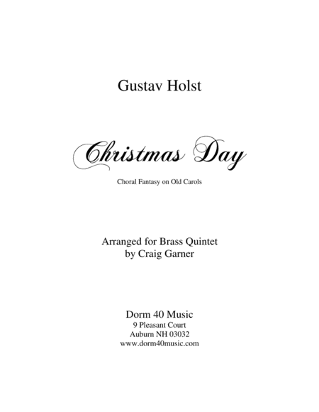 Christmas Day (Choral Fantasy on Old Carols) for Brass Quintet