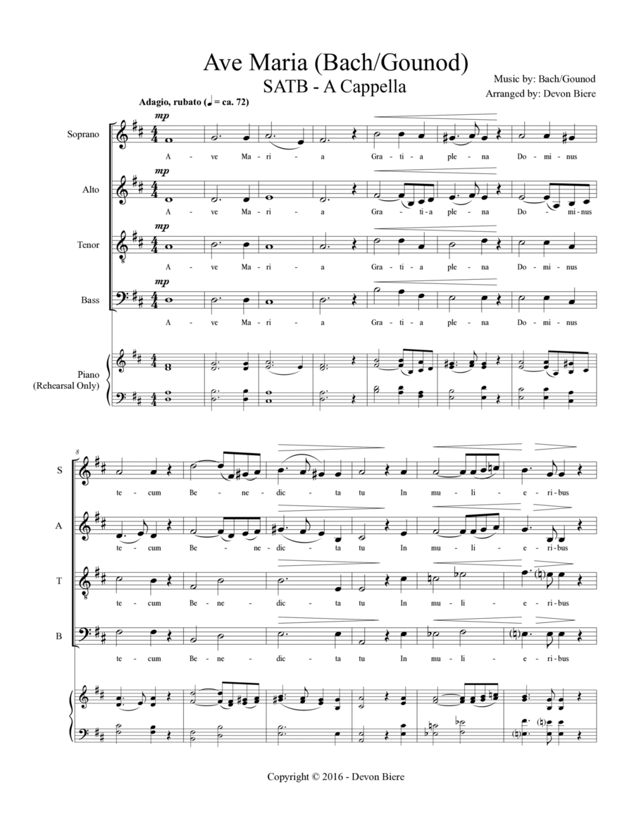 Ave Maria - Bach/Gounod (SATB - A Cappella)
