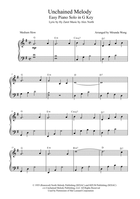 Unchained Melody - Easy Piano Solo in G Key (With Chords)
