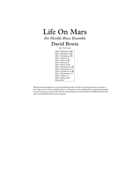 Life On Mars for Flexible Brass Ensemble, (6 parts or Quintet)