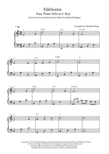 Edelweiss - Easy Piano Solo in C Key (With Chords)