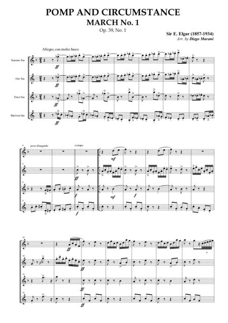 Pomp and Circumstance March No. 1 for Saxophone Quartet