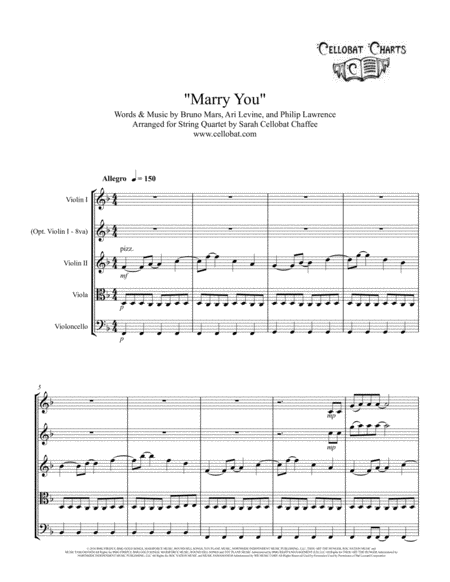 Marry You - String Quartet - Bruno Mars arr. Cellobat