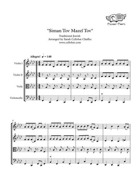 Siman Tov Mazel Tov - String Quartet - Traditional Jewish arr. Cellobat