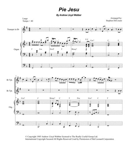 Pie Jesu (Duet for Bb-Trumpet - Organ Accompaniment)
