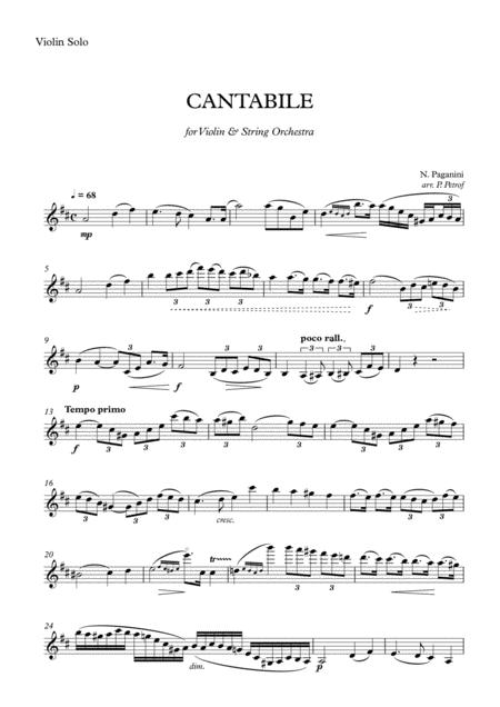 Paganini - CANTABILE for Violin and String Orchestra - parts