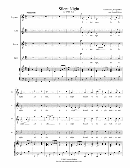 Silent Night - for SATB choir with piano accompaniment