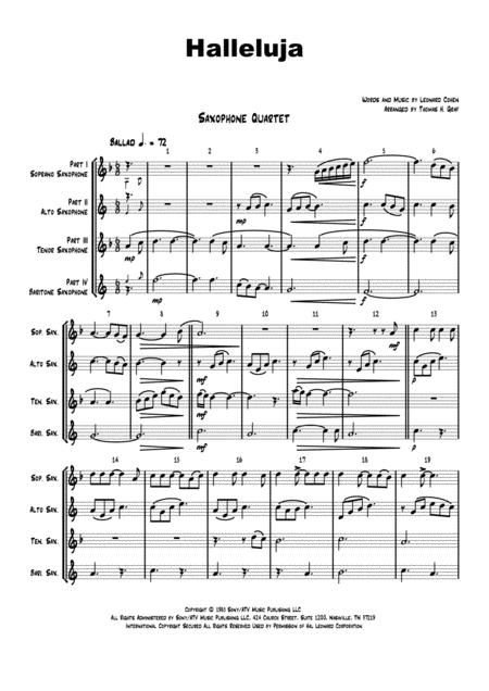 Halleluja - sophisticated arrangement of Cohen's Classic - Saxophone Quartet
