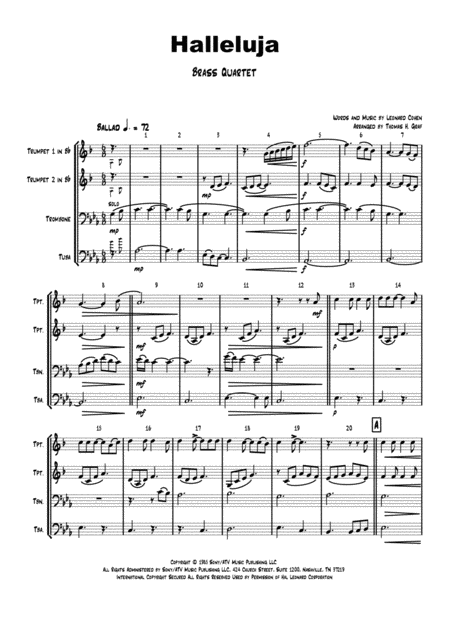 Halleluja - sophisticated arrangement of Cohen's Classic - Brass Quartet