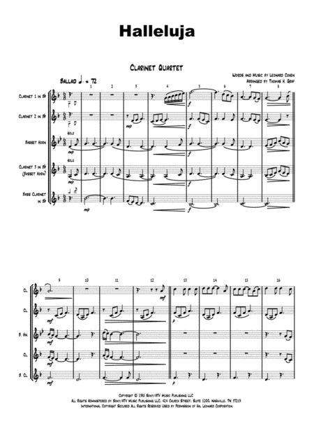 Halleluja - sophisticated arrangement of Cohen's Classic - Clarinet Quartet