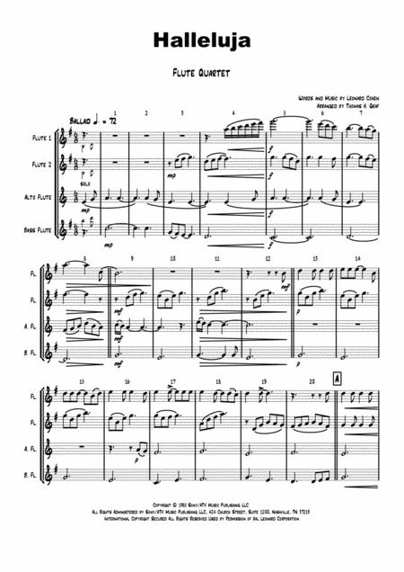 Halleluja - sophisticated arrangement of Cohen's Classic - Flute Quartet