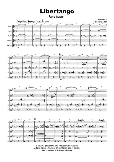 Libertango - Astor Piazolla - Tango Nuevo - Flute Quintet