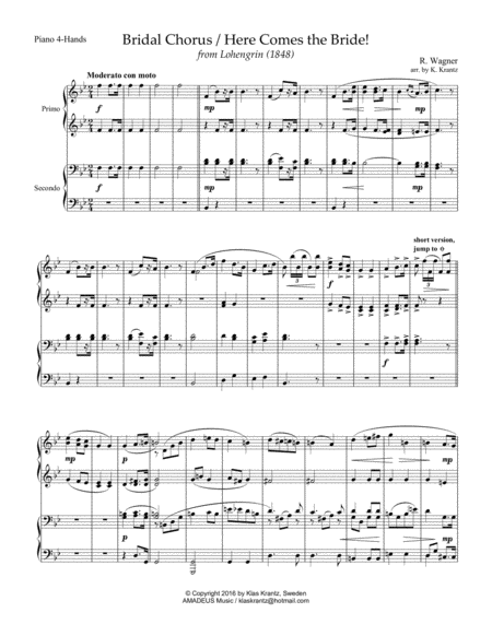Wedding Music for 1 piano, 4-hands (piano duet)