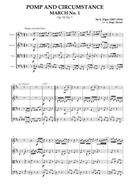 Pomp and Circumstance March No. 1 for String Quartet