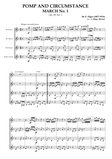 Pomp and Circumstance March No. 1 for Clarinet Quartet