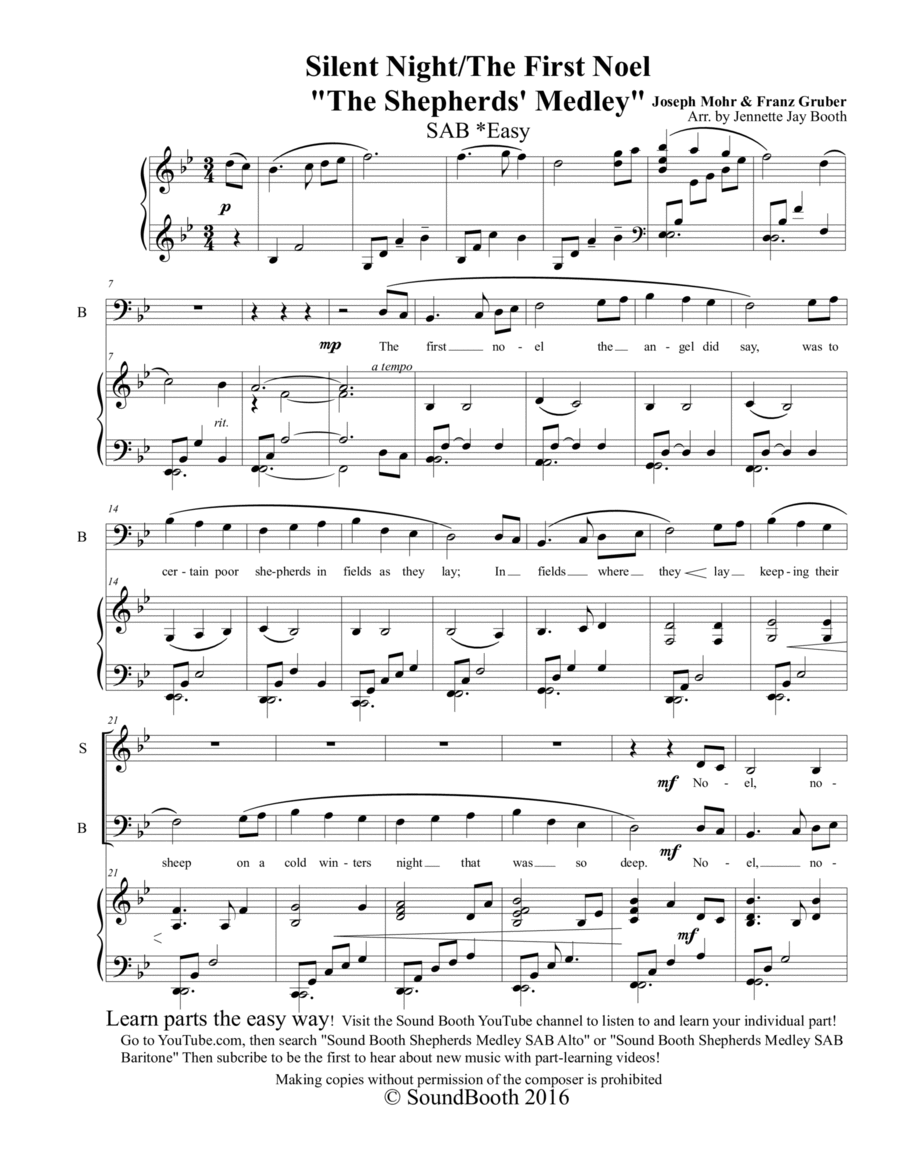 The Shepherd's Medley (The First Noel/Silent Night) SAB