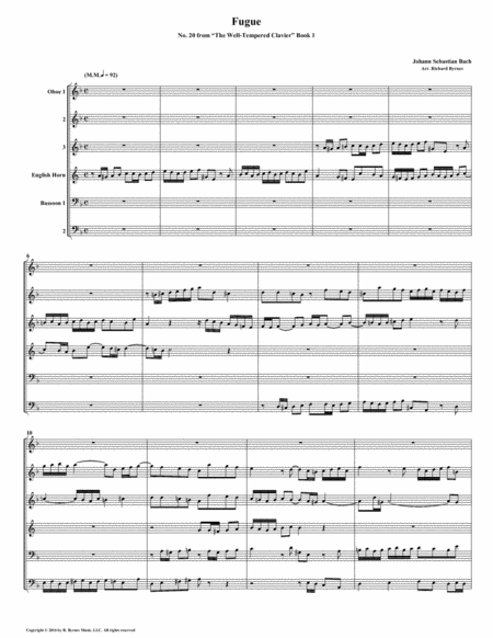 Fugue 20 from Well-Tempered Clavier, Book 1 (Double Reed Sextet)