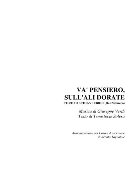 VA' PENSIERO - Arr. for SATB Choir