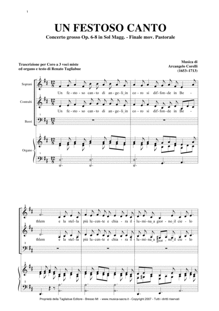 PASTORALE From: Concerto grosso Op. 6-8 - by A. Corelli - For SAB Choir and Organ
