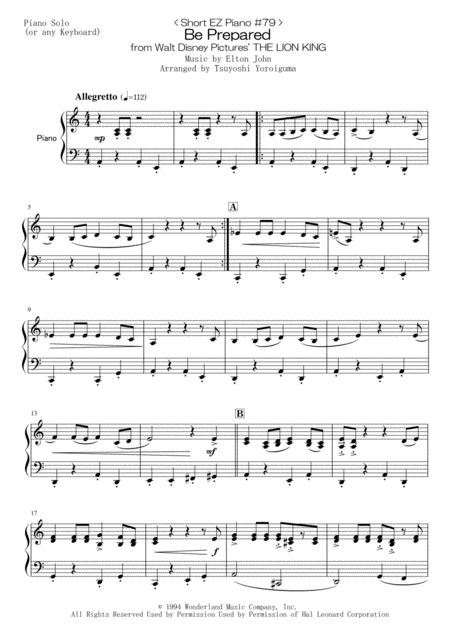 < Short EZ Piano #79 > Be Prepared from Walt Disney Pictures' THE LION KING