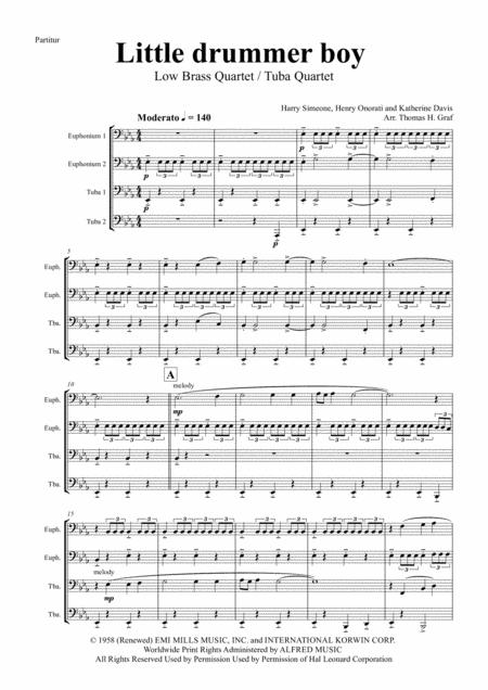 Little drummer boy - Christmas Bolero - Low Brass Quartet/Tuba Quartet