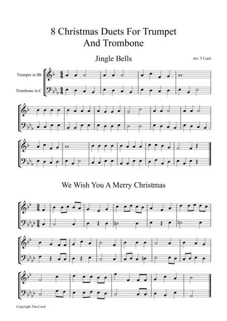 8 Christmas Duets For Trumpet and Trombone