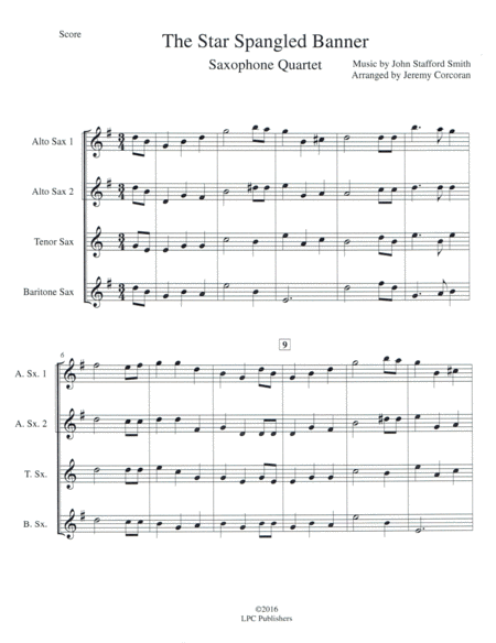 The Star Spangled Banner for Saxophone Quartet