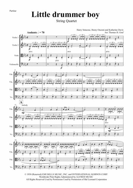 The little drummer boy - Christmas Bolero - String Quartet