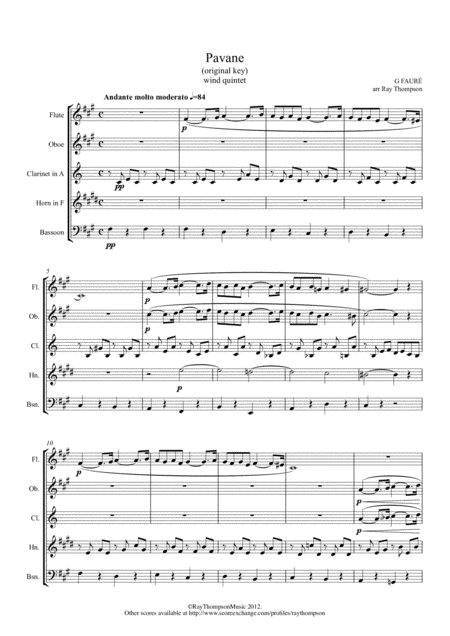 Faure: Pavane Op.50 (original key) - wind quintet
