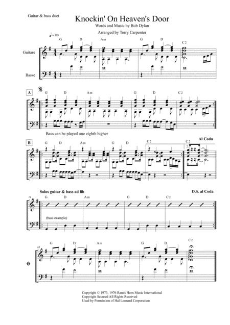 Knockin' On Heaven's Door (Dylan) Lead bass & guitar