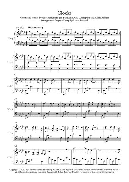 Clocks - Pedal Harp Solo