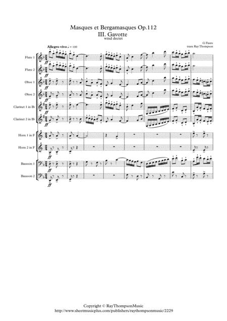 Faure: Masques et Bergamasques Op.112 Mvt. III Gavotte - wind dectet