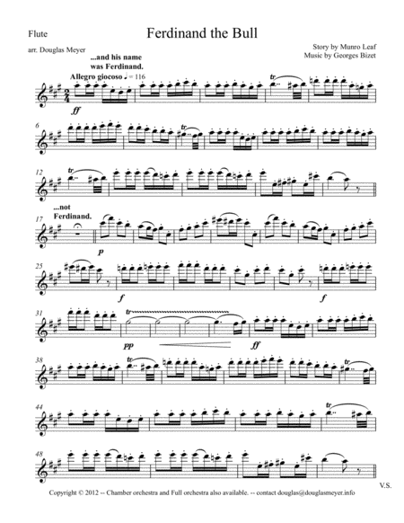Ferdinand the Bull for Woodwind Quintet and Narrator - parts and narration