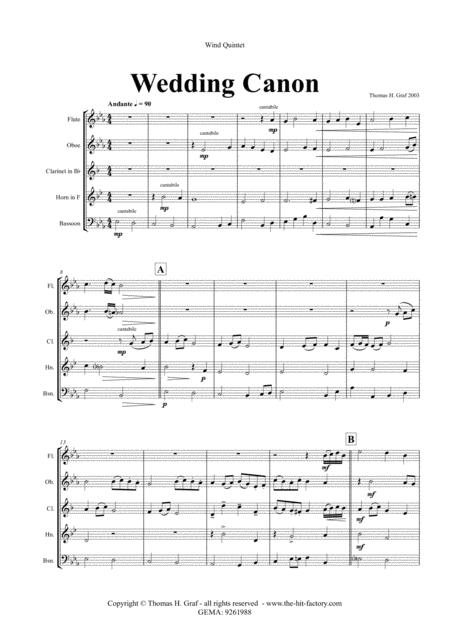 Wedding Canon - Festive Concert Piece - Wind Quintet